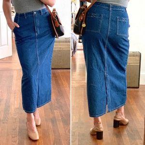 Style & Co Denim Long Midi Pencil Skirt 8 Petite